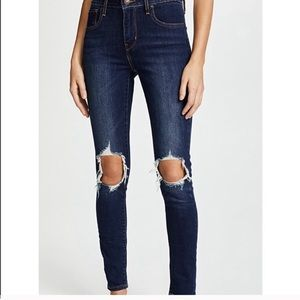 Levi's High Waisted Distressed Skinny Jeans 27